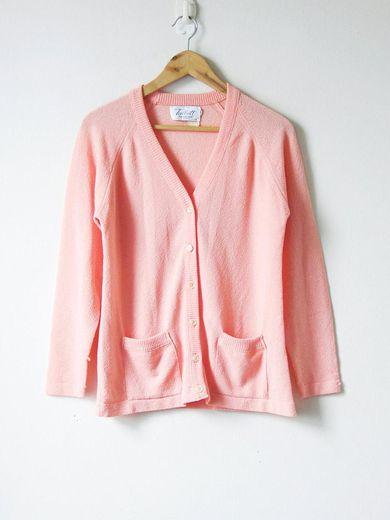60s Pastel Peach Cardigan - 60s Cardigan - Pink