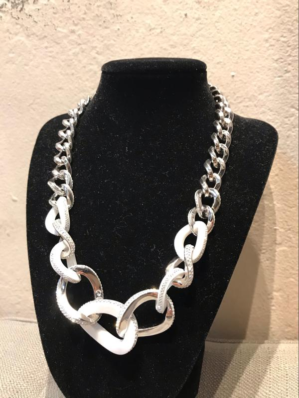 Sterling Silver Swarovski Link Necklace